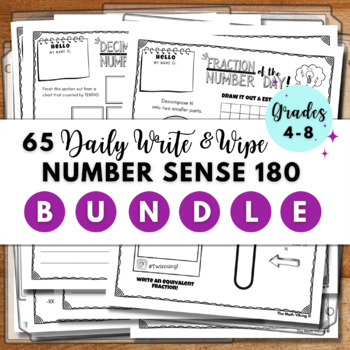 Number of The Day Templates Binder Grade 4 ,5 and 6; Reasoning with OA NBT NF