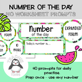 Number of The Day No Worksheet Prompts - Use Any Number