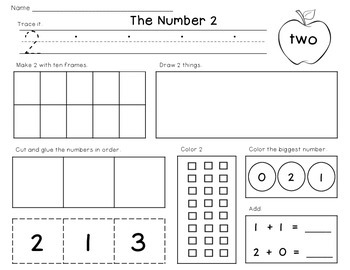 Number of the Day 0 to 20 Printable Worksheets