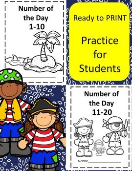 Number of the Day 1-10 and 11-20 Pirate Theme