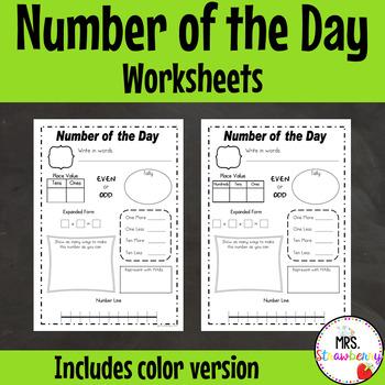 Number of the Day Worksheet Set