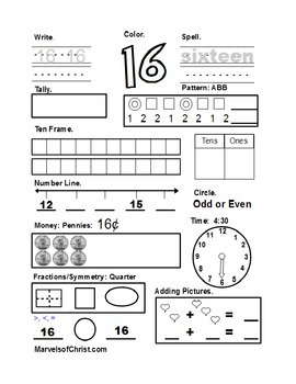 Number of the Day 11-20 Black and White