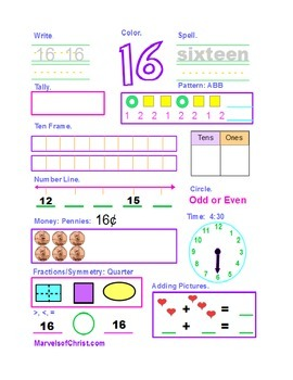 Number of the Day 11-20 Girl Color Scheme