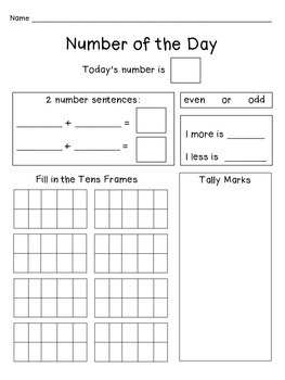 Number of the Day Printables