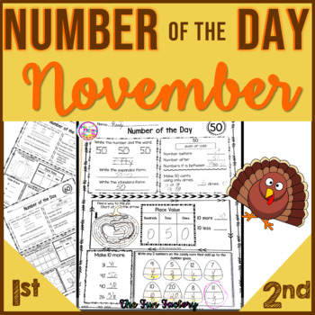 First Grade Math, Number of the Day~Common Core & TEKS~Nov.~ No Prep, Just Print