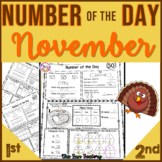 1st Grade Math Number of the Day  Nov. NO PREP JUST PRINT