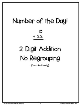 Number of the Day 2 Digit Addition No Regrouping with Canadian Money