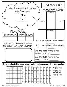 Number of the Day 2 Digit Subtraction with No Regrouping with Place Value Blocks
