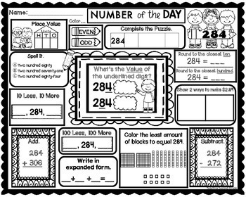 Number of the Day Worksheets | Math Review 2nd Grade by ...