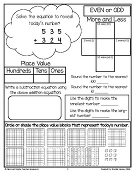Number of the Day 3 Digit Addition No Regrouping with Place Value Blocks