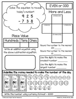 Number of the Day 3 Digit Subtraction with Regrouping American Currency