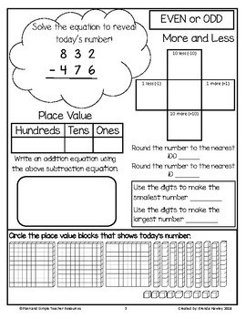 Number of the Day 3 Digit Subtraction with Regrouping Place Value Blocks