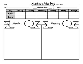 """Number of the Day -  A """"Do-First"""" Week Long Student Worksheet"""