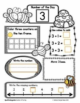 Kindergarten Math Number of the Day Number Sense Morning Work