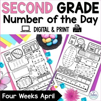 Spring Second Grade Math Place Value Number of the Day April