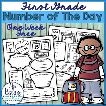 Number of the Day Back to School First Grade Math FREEBIE