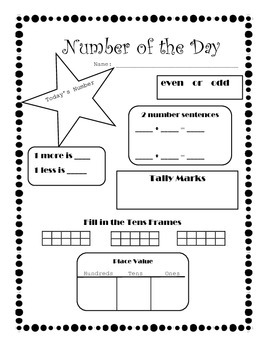 Number of the Day--Beginning of First Grade