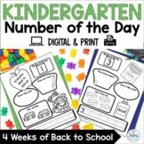Back to School Math Kindergarten Number of the Day Number Sense Morning Work