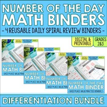 Number of the Day Binder Differentiation BUNDLE - 2nd & 3rd Grade Math Skills