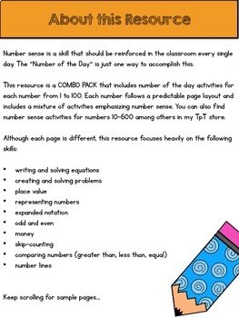 Number of the Day COMBO PACK {Developing Number Sense with Numbers 1-100}