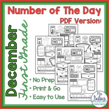 Math Centers First Grade Number of the Day Number Sense Holiday December