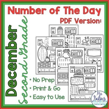 Holiday Math Second Grade Place Value Number of the Day December