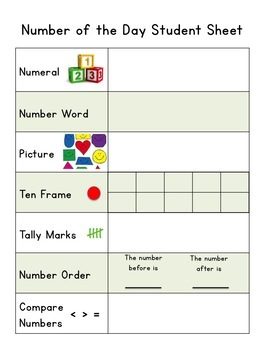 Number of the Day Circle time Bulletin Board Posters + Student Sheet