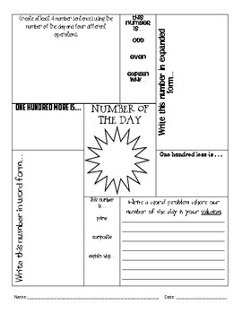 Number of the day daily math worksheet 3rd 8th grade by jessica patton number of the day daily math worksheet 3rd 8th grade ibookread PDF