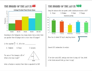 Number of the Day - Daily Spiral Review Bell Work Warm Up - 6th Grade