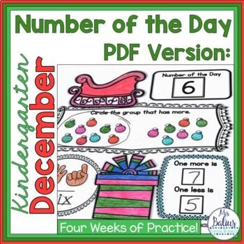 Holiday Math Number of the Day Kindergarten Number Sense