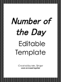 Number of the Day Editable Template