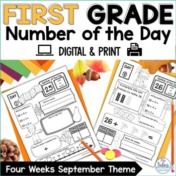 Back to School Math First Grade Place Value Number of the Day