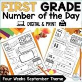 First Grade September Place Value Worksheets   Number of t