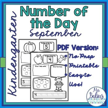 Kindergarten Math Fall Number of the Day