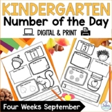 Kindergarten Math Number of the Day Number Sense Morning Work Fall September