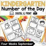 Kindergarten Math Number of the Day Number Sense Morning Work Fall September