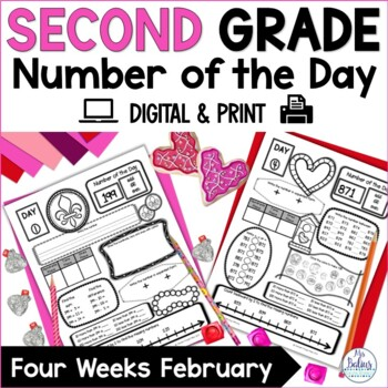 Second Grade Math Place Value Number of the Day February Valentine Mardi Gras