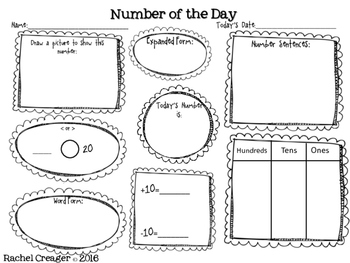 Number of the Day First Grade Common Core