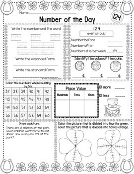 Number of the Day, First Grade Math TEKS ~March~ NO PREP, JUST PRINT
