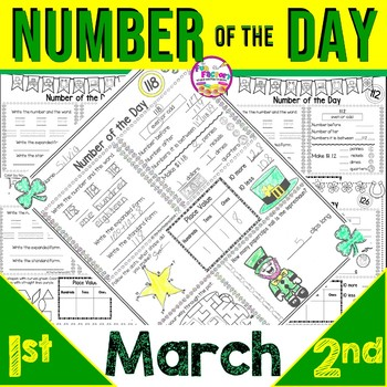 First Grade Math Number of the Day |Common Core & TEKS| March NO PREP JUST PRINT