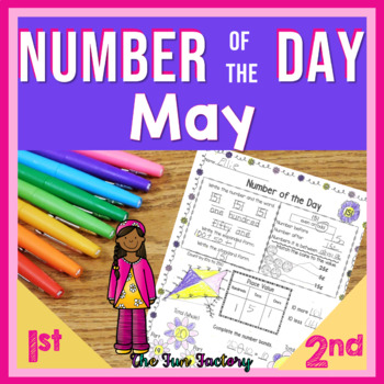 First Grade Math Number of the Day Activities Common Core May NO PREP JUST PRINT