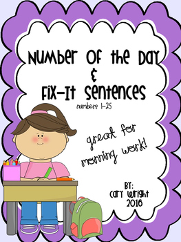 Number of the Day/Fix-It Sentences #'s 1-25