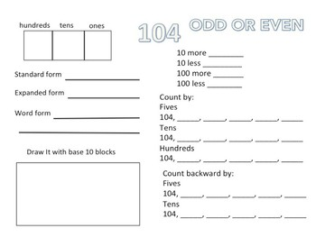 Number of the Day Freebie 101 - 150