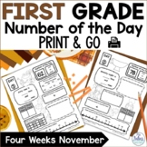 Place Value Number Sense First Grade Math Number of the Day November