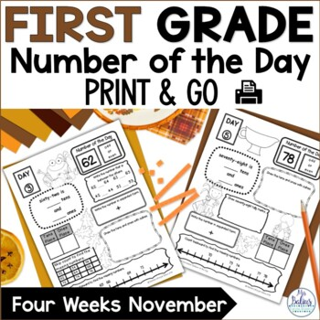 Thanksgiving Number of the Day Place Value First Grade Mat