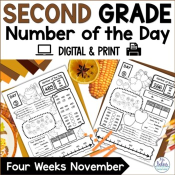 Second Grade Math Place Value Number of the Day November Thanksgiving