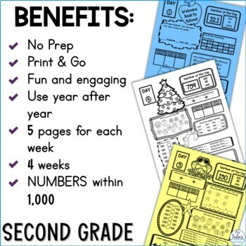 Back to School Math Place Value Second Grade Centers Number of the Day