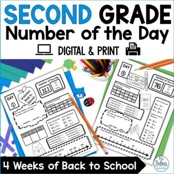 Back to School Math First Day Place Value Second Grade Centers Number of the Day