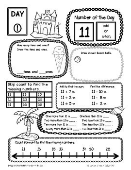 Number of the Day {Going to the Beach} First Grade Math June