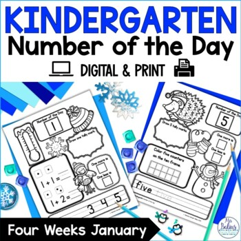 Winter Math Kindergarten Number of the Day January